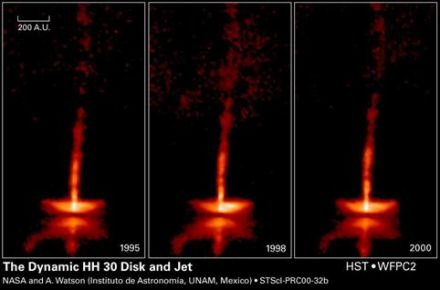 HST images of young stellar disk and outflows