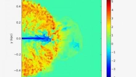 Density slice through 3D AGN jet simulation