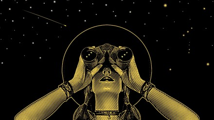 drawing of woman looking at stars through binoculars